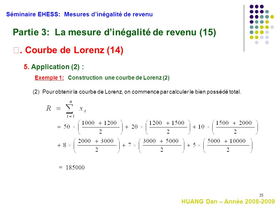Partie 3: La mesure d'inégalité de revenu (15)