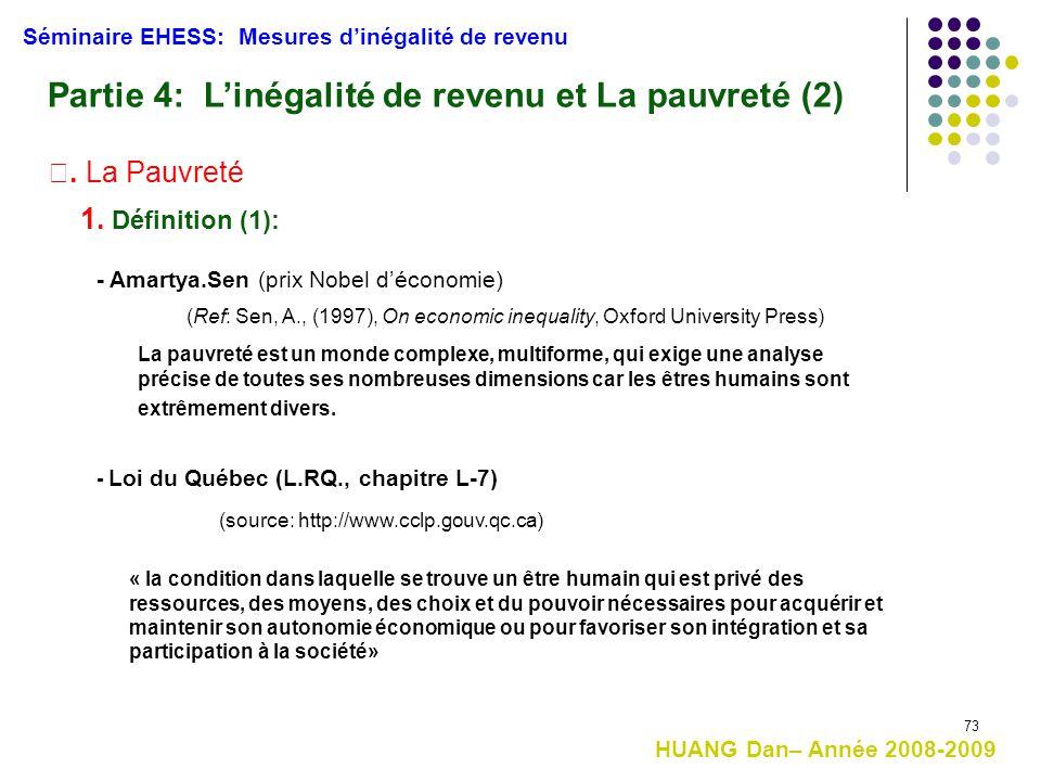 Partie 4: L'inégalité de revenu et La pauvreté (2)