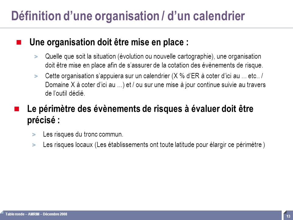 Définition d'une organisation / d'un calendrier