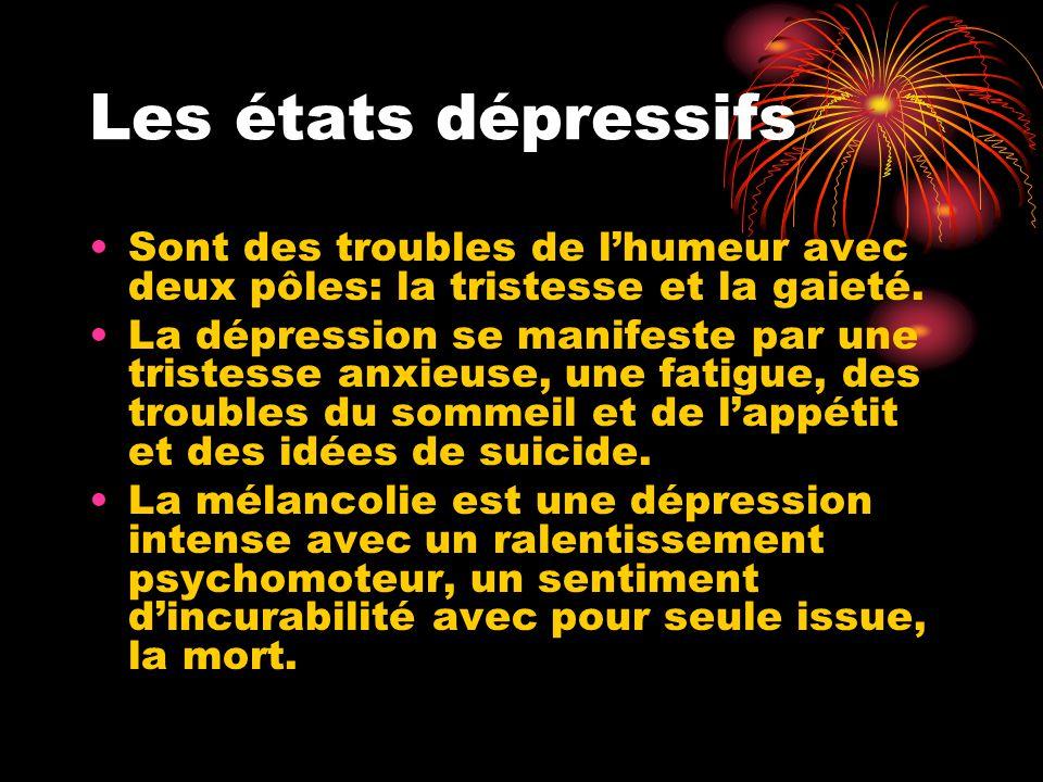 Les états dépressifs Sont des troubles de l'humeur avec deux pôles: la tristesse et la gaieté.