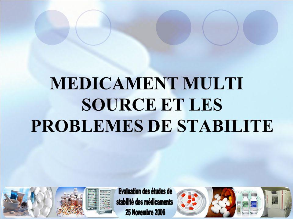 MEDICAMENT MULTI SOURCE ET LES PROBLEMES DE STABILITE