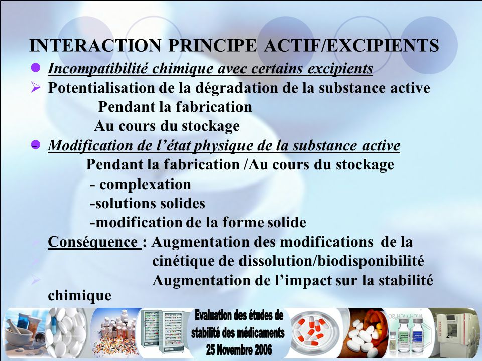 INTERACTION PRINCIPE ACTIF/EXCIPIENTS