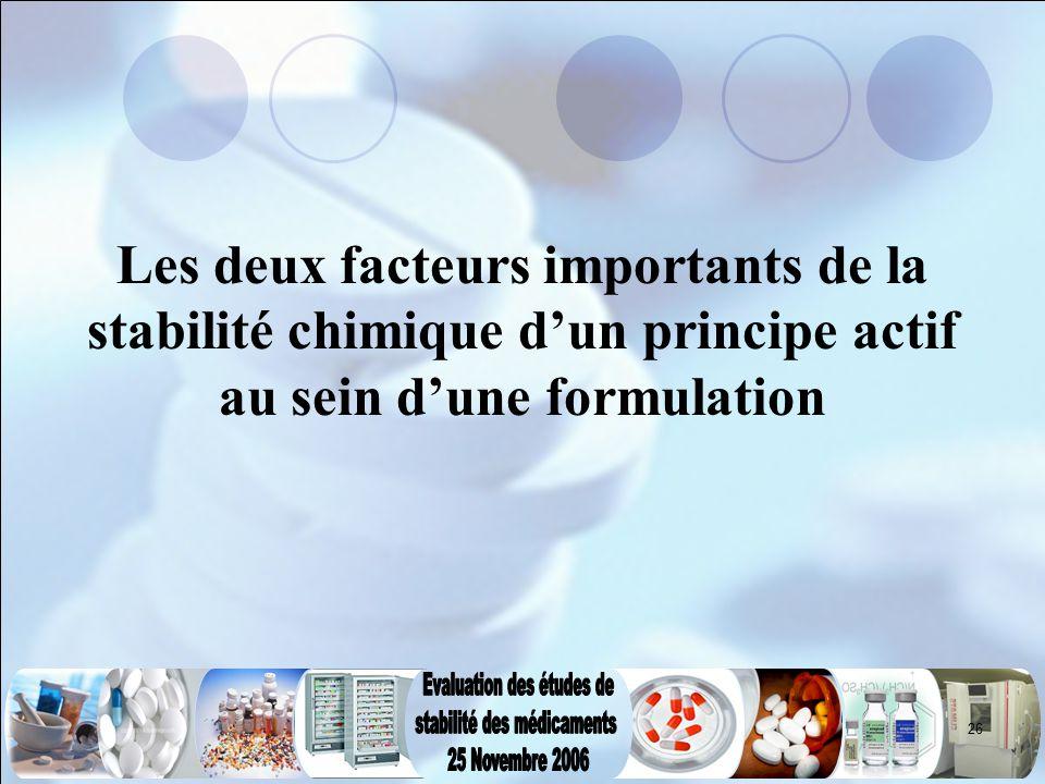 Les deux facteurs importants de la stabilité chimique d'un principe actif au sein d'une formulation