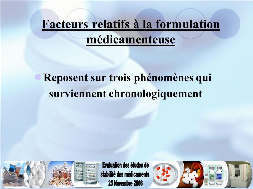 Facteurs relatifs à la formulation médicamenteuse