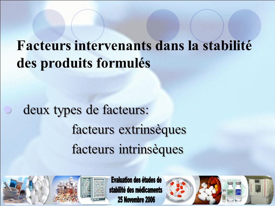 Facteurs intervenants dans la stabilité des produits formulés