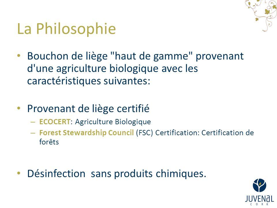 La Philosophie Bouchon de liège haut de gamme provenant d une agriculture biologique avec les caractéristiques suivantes: