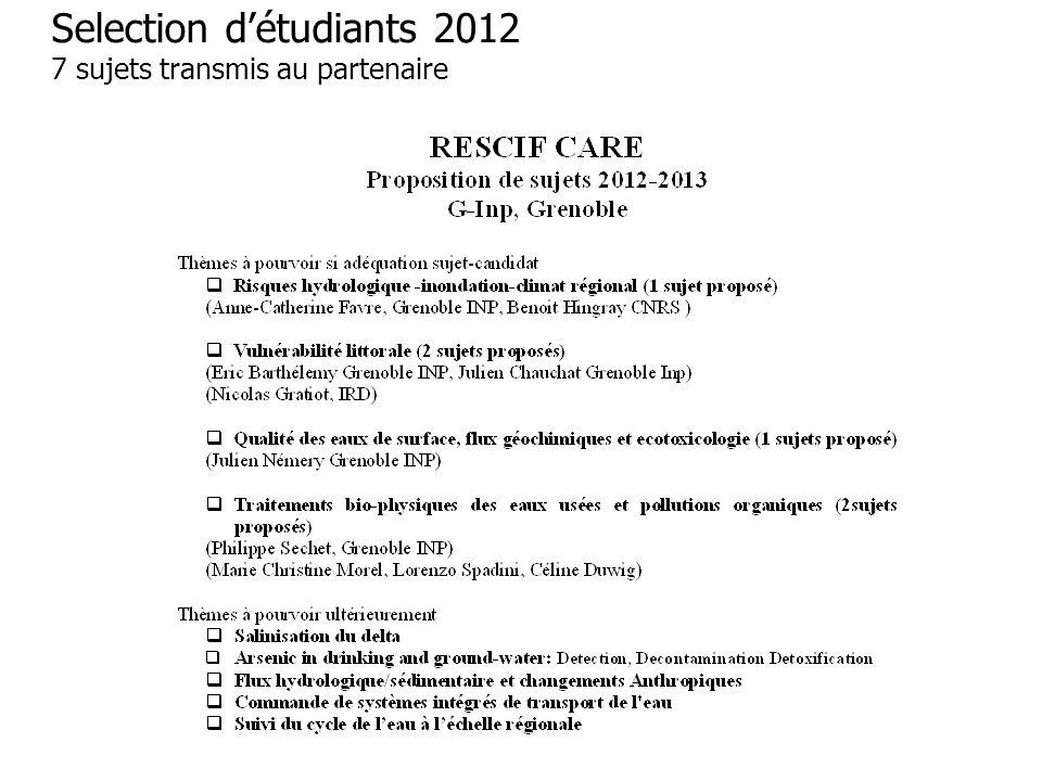 Selection d'étudiants 2012