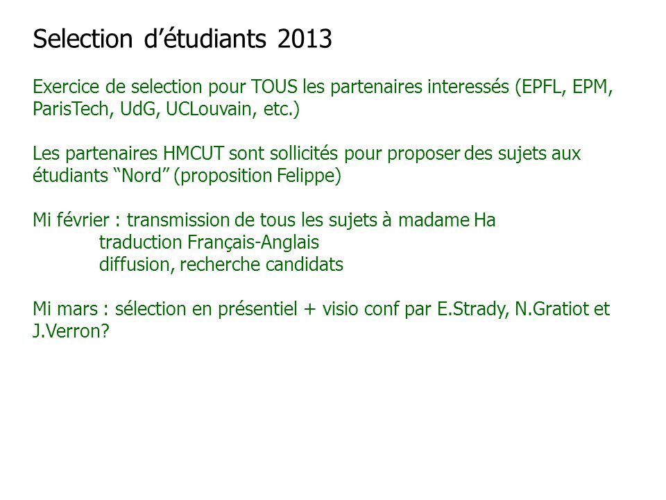 Selection d'étudiants 2013