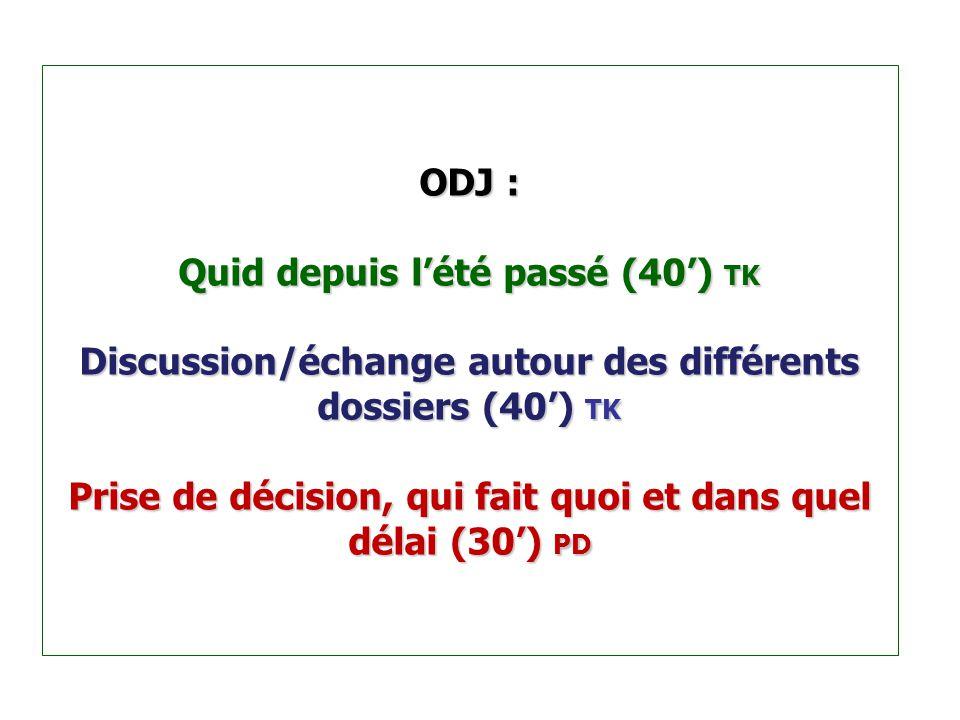 ODJ : Quid depuis l'été passé (40') TK Discussion/échange autour des différents dossiers (40') TK Prise de décision, qui fait quoi et dans quel délai (30') PD