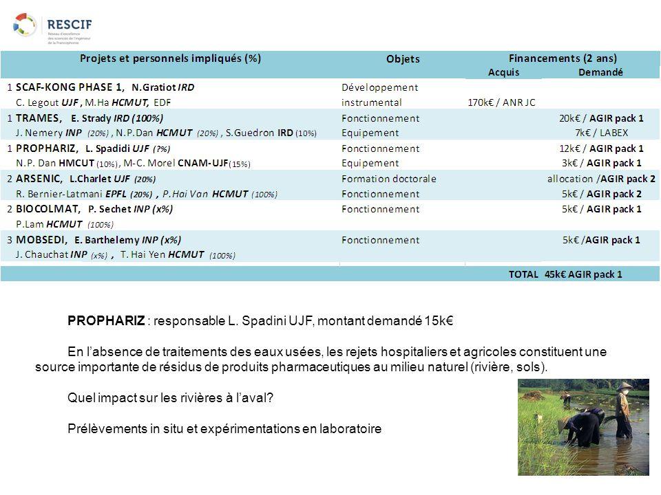 PROPHARIZ : responsable L. Spadini UJF, montant demandé 15k€