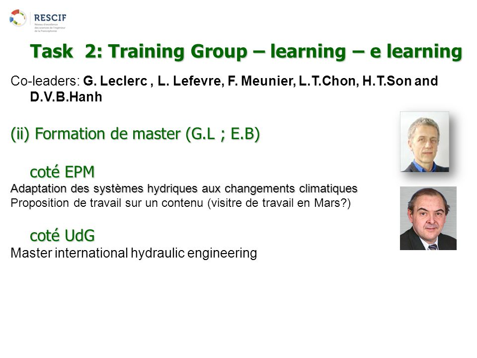 Task 2: Training Group – learning – e learning