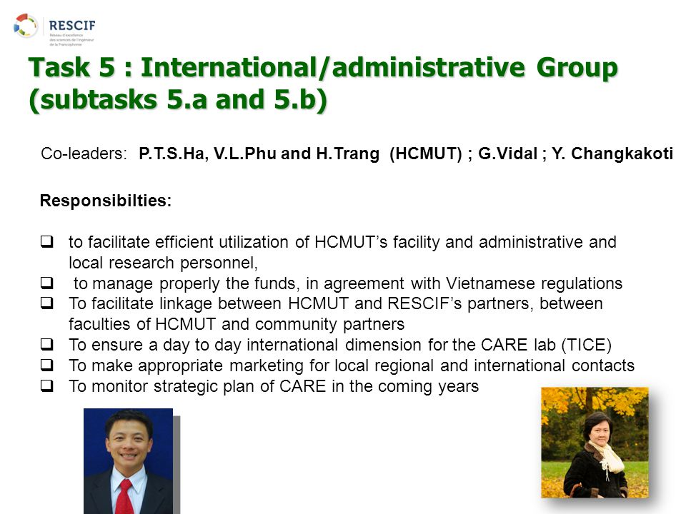 Task 5 : International/administrative Group (subtasks 5.a and 5.b)