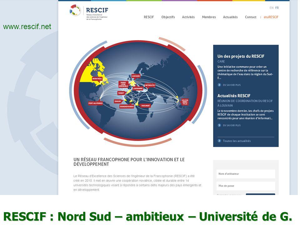 RESCIF : Nord Sud – ambitieux – Université de G.