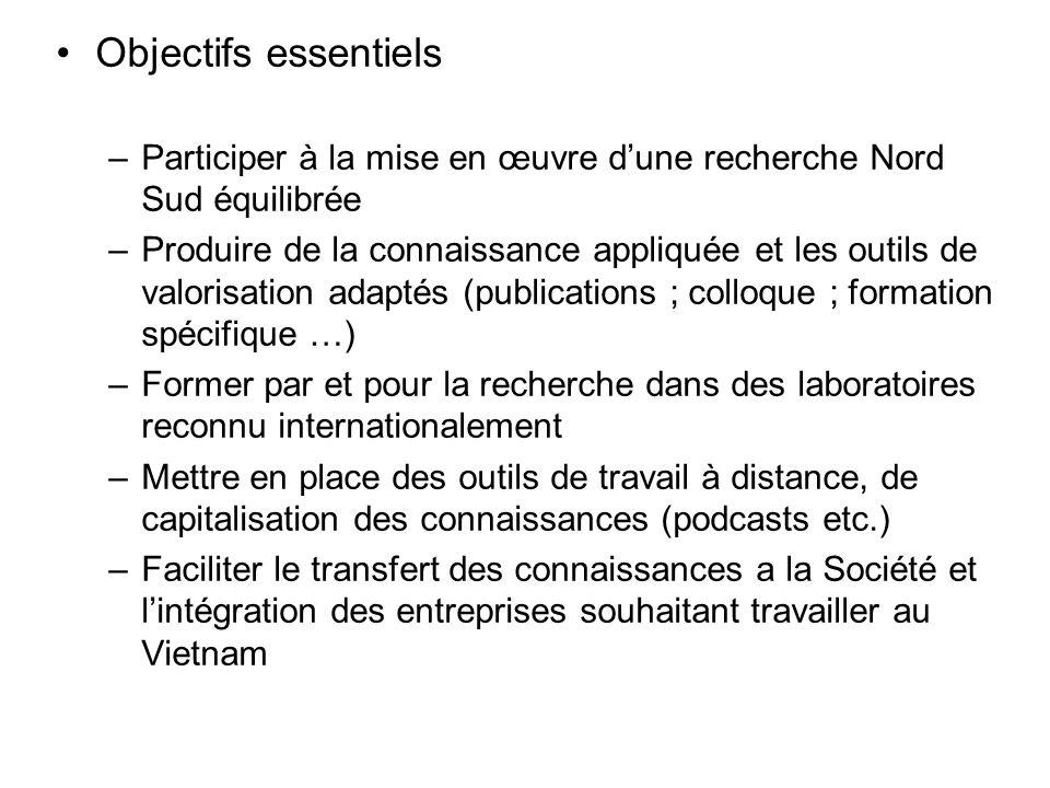 Objectifs essentiels Participer à la mise en œuvre d'une recherche Nord Sud équilibrée.