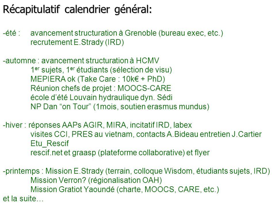Récapitulatif calendrier général: -été :