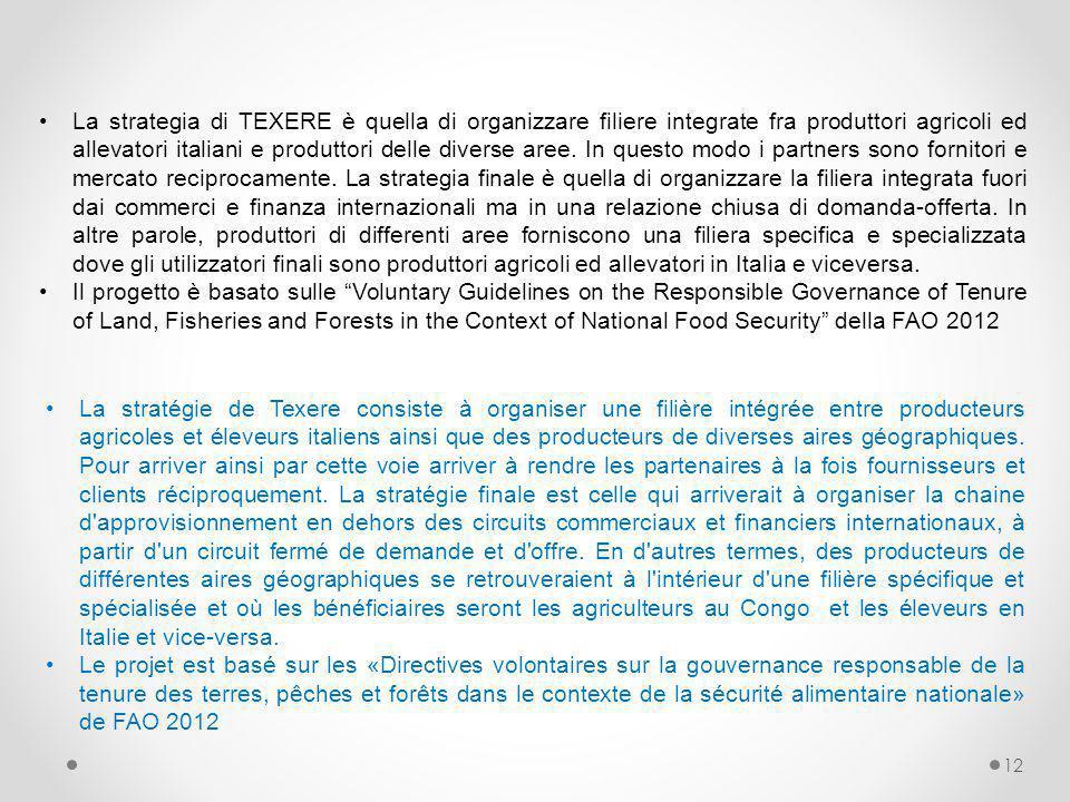 La strategia di TEXERE è quella di organizzare filiere integrate fra produttori agricoli ed allevatori italiani e produttori delle diverse aree. In questo modo i partners sono fornitori e mercato reciprocamente. La strategia finale è quella di organizzare la filiera integrata fuori dai commerci e finanza internazionali ma in una relazione chiusa di domanda-offerta. In altre parole, produttori di differenti aree forniscono una filiera specifica e specializzata dove gli utilizzatori finali sono produttori agricoli ed allevatori in Italia e viceversa.