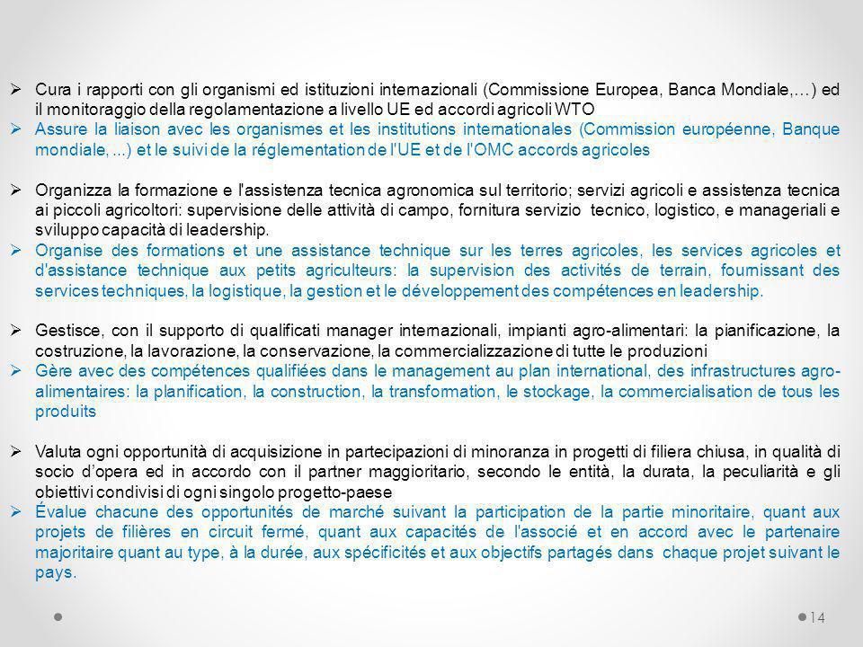 Cura i rapporti con gli organismi ed istituzioni internazionali (Commissione Europea, Banca Mondiale,…) ed il monitoraggio della regolamentazione a livello UE ed accordi agricoli WTO
