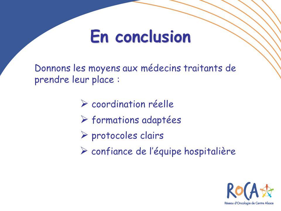 En conclusion Donnons les moyens aux médecins traitants de prendre leur place :  coordination réelle.