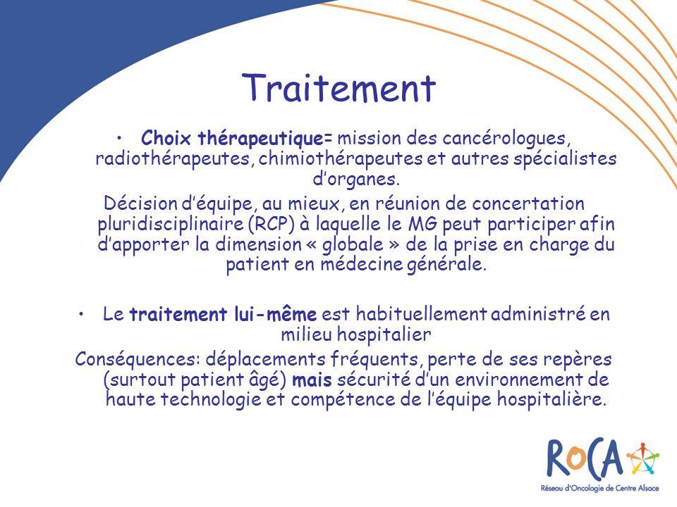 Traitement Choix thérapeutique= mission des cancérologues, radiothérapeutes, chimiothérapeutes et autres spécialistes d'organes.