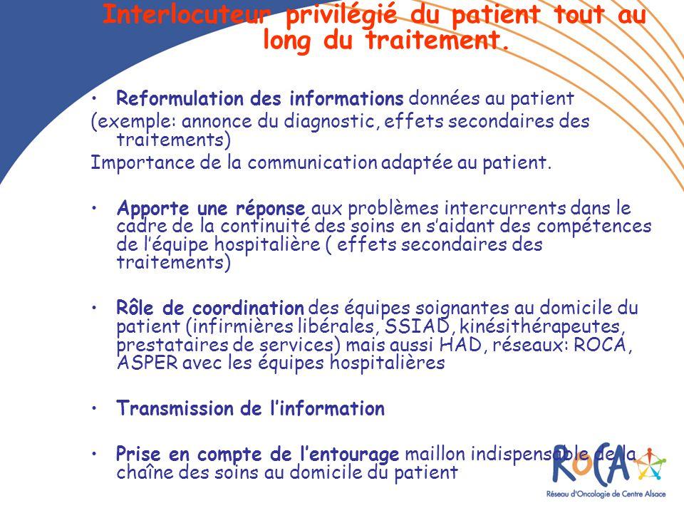 Interlocuteur privilégié du patient tout au long du traitement.