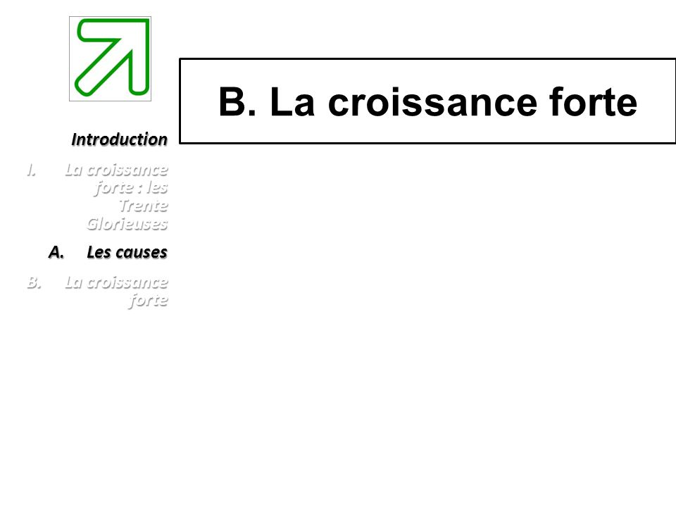 B. La croissance forte Introduction