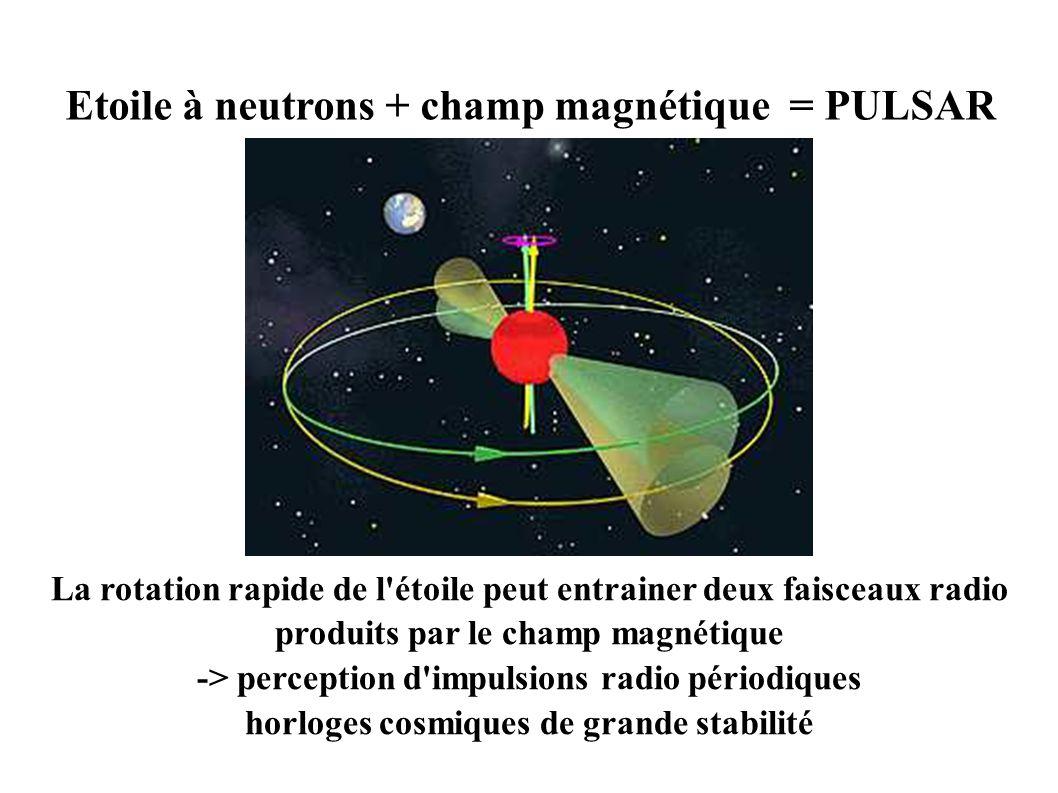 Etoile à neutrons + champ magnétique = PULSAR