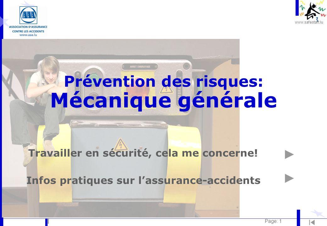 Prévention des risques: Mécanique générale
