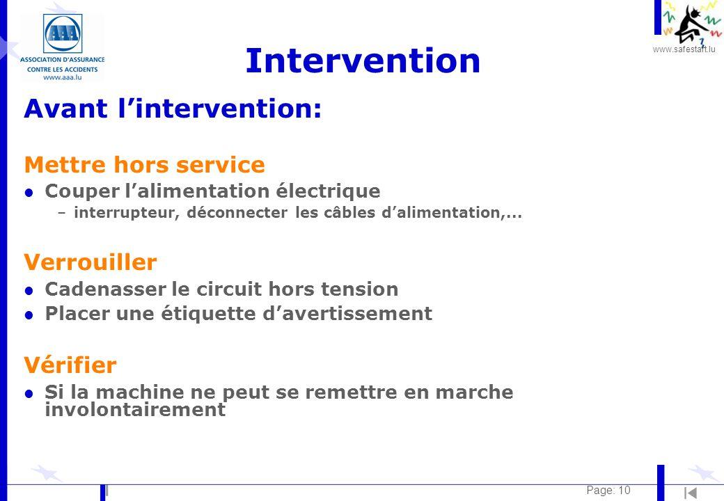 Intervention Avant l'intervention: Mettre hors service Verrouiller