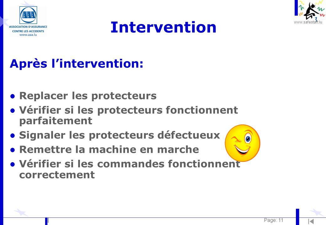 Intervention Après l'intervention: Replacer les protecteurs