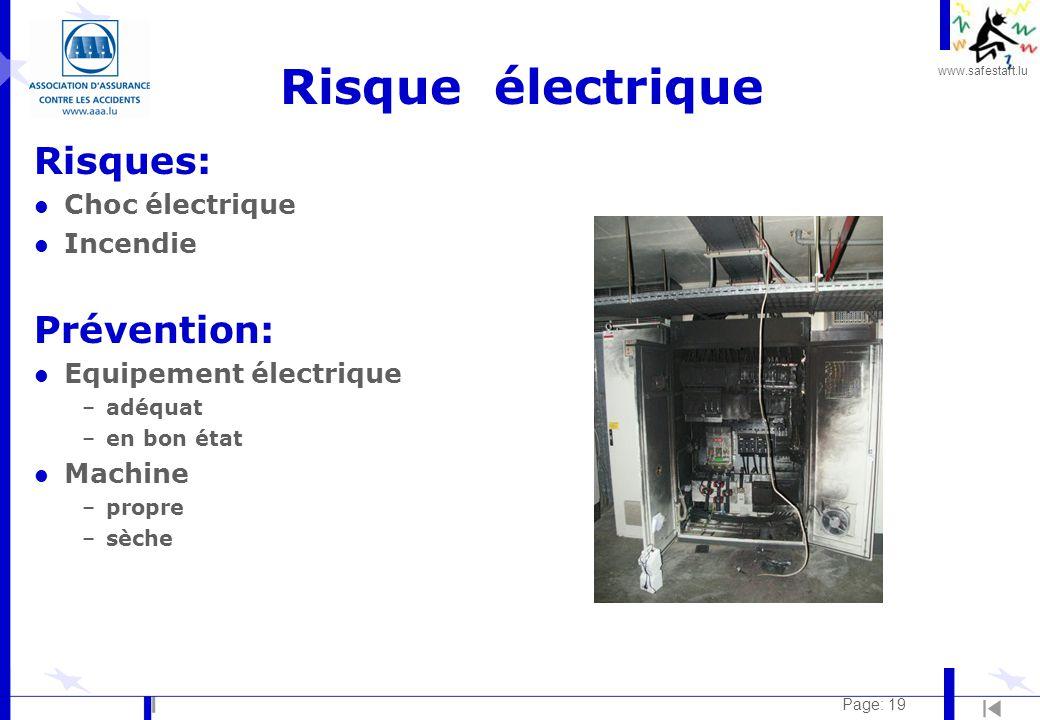 Risque électrique Risques: Prévention: Choc électrique Incendie