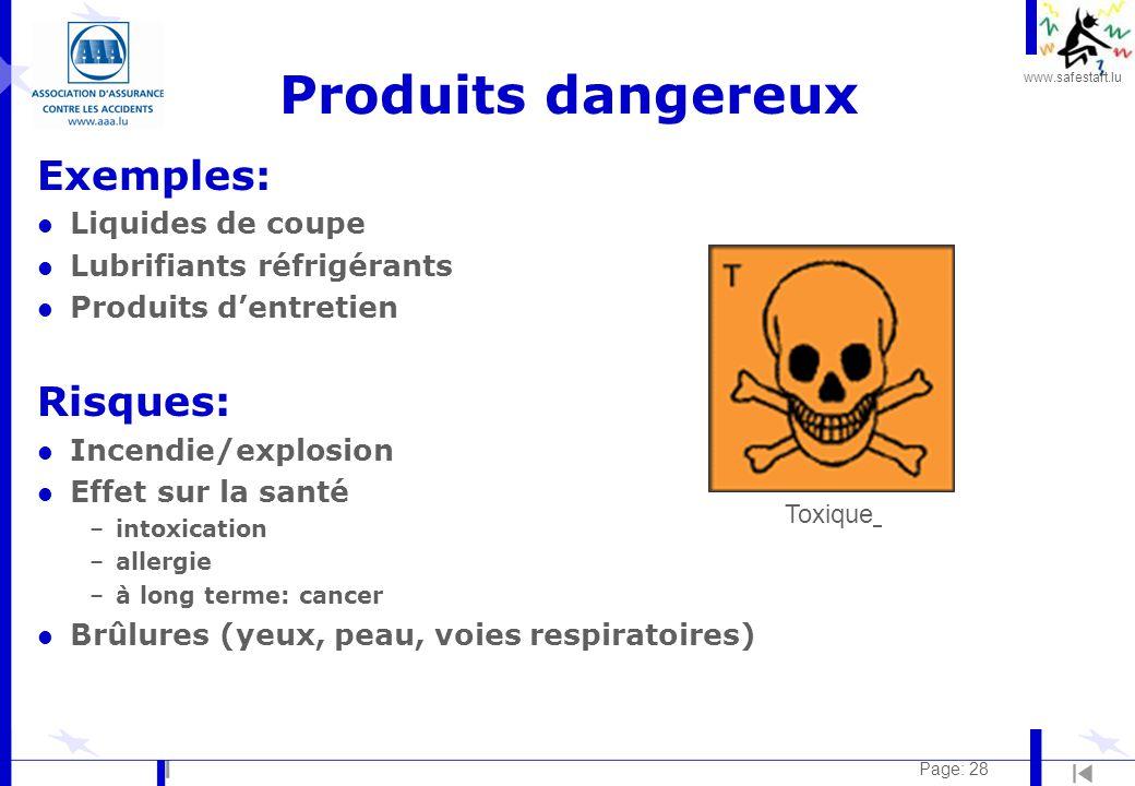 Produits dangereux Exemples: Risques: Liquides de coupe