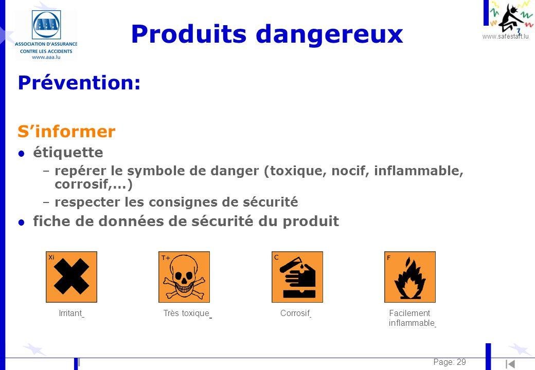 Produits dangereux Prévention: S'informer étiquette
