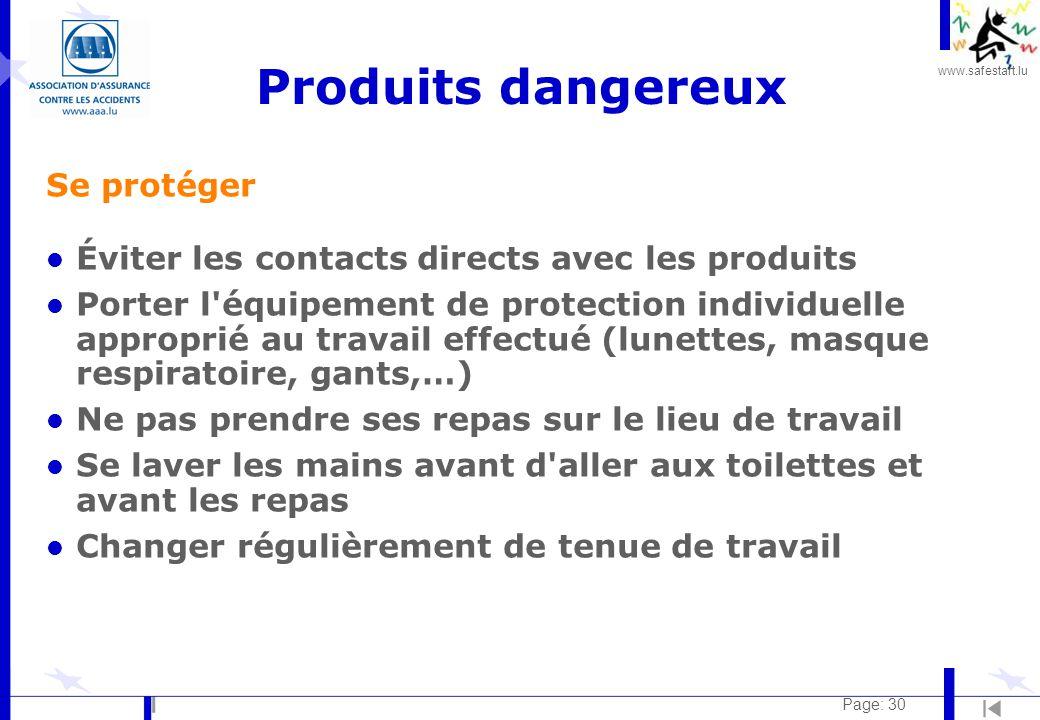 Produits dangereux Se protéger