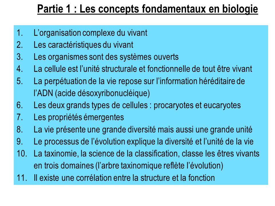 Partie 1 : Les concepts fondamentaux en biologie