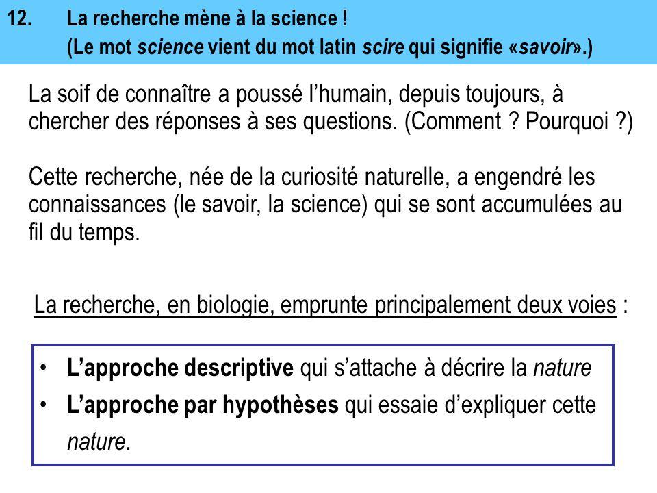 La recherche, en biologie, emprunte principalement deux voies :
