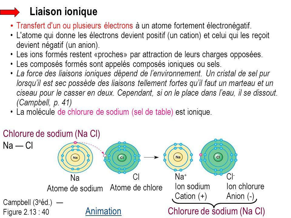 Liaison ionique Chlorure de sodium (Na Cl) Na — Cl Animation