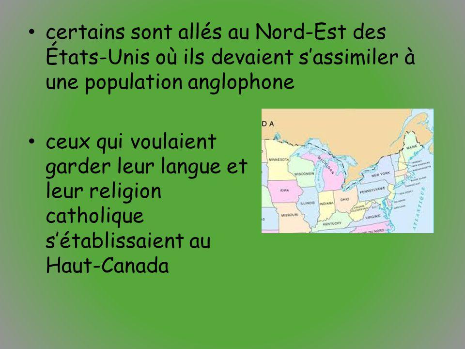certains sont allés au Nord-Est des États-Unis où ils devaient s'assimiler à une population anglophone