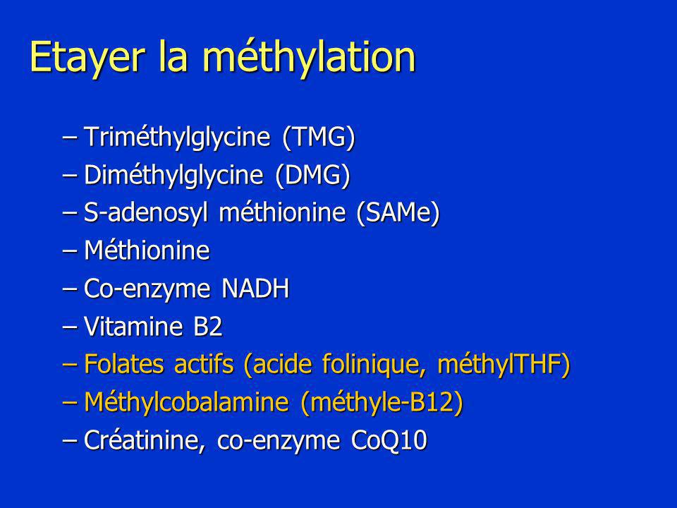 Etayer la méthylation Triméthylglycine (TMG) Diméthylglycine (DMG)