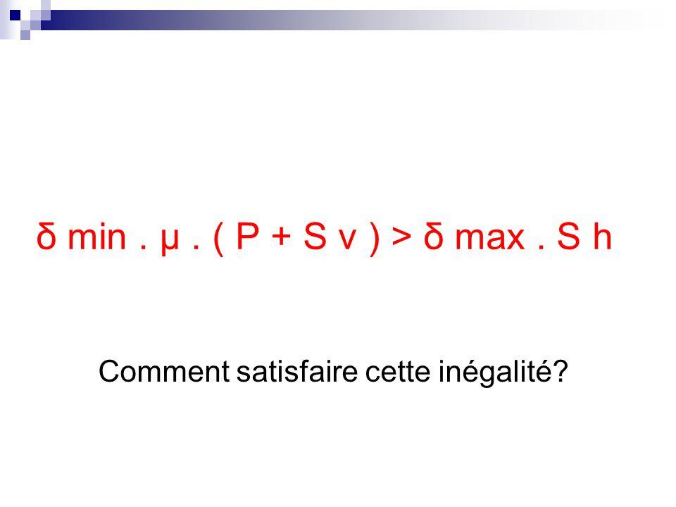 δ min . μ . ( P + S v ) > δ max . S h