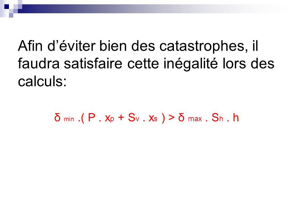 δ min .( P . xp + Sv . xs ) > δ max . Sh . h