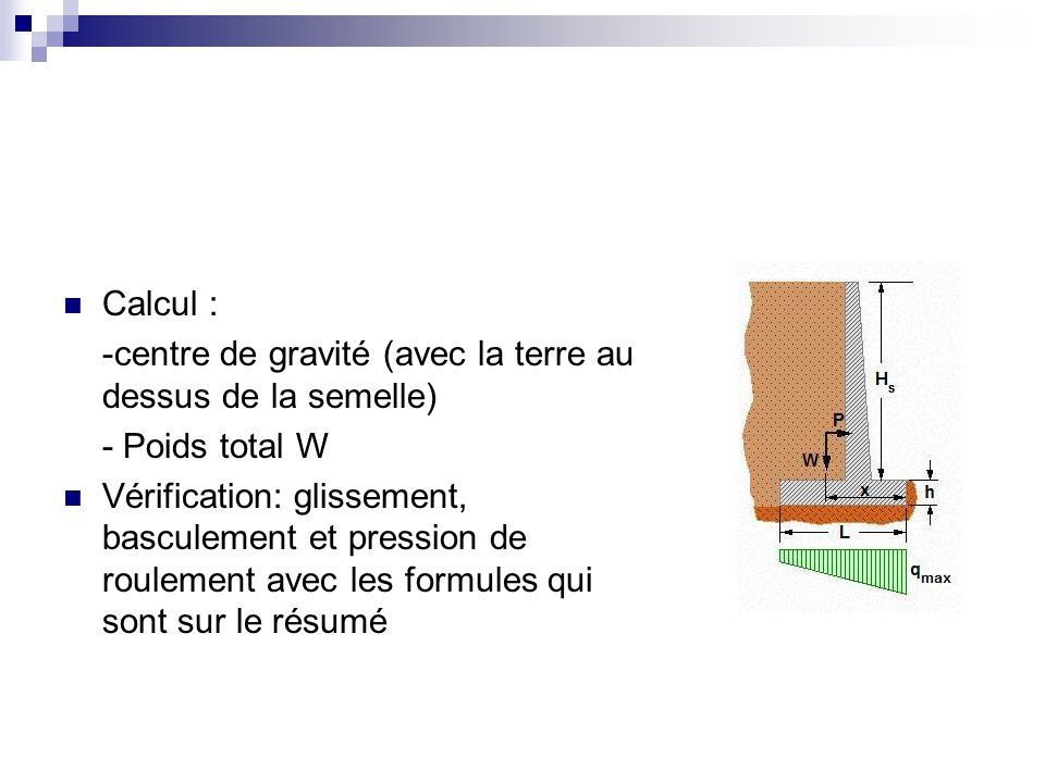 Calcul : -centre de gravité (avec la terre au dessus de la semelle) - Poids total W.