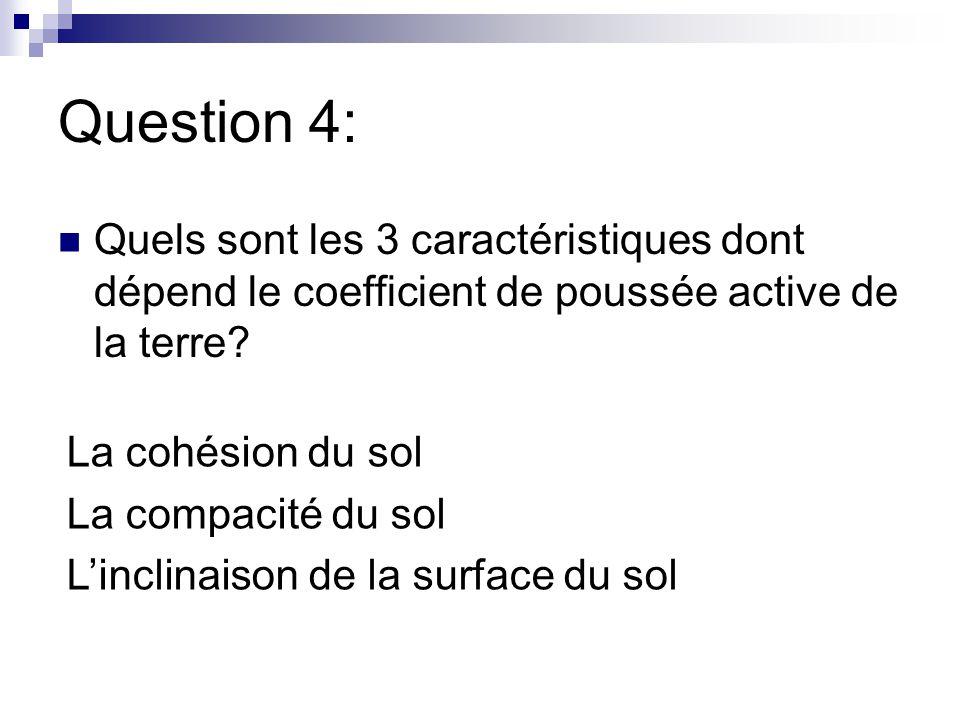 Question 4: Quels sont les 3 caractéristiques dont dépend le coefficient de poussée active de la terre