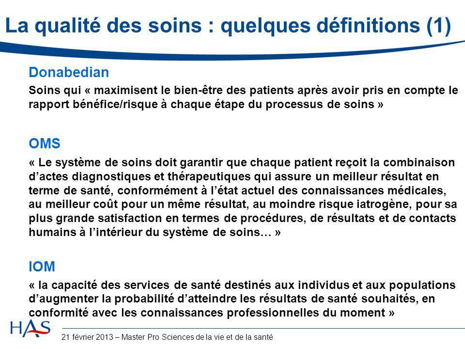 La qualité des soins : quelques définitions (1)