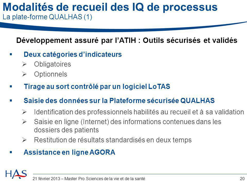 Modalités de recueil des IQ de processus La plate-forme QUALHAS (1)