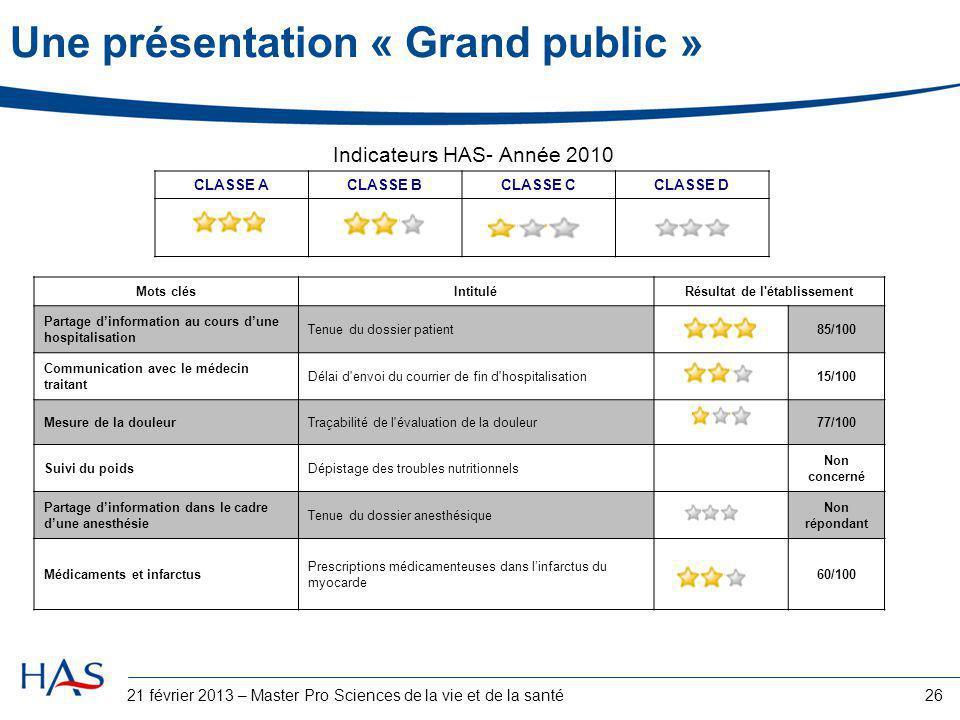 Une présentation « Grand public »