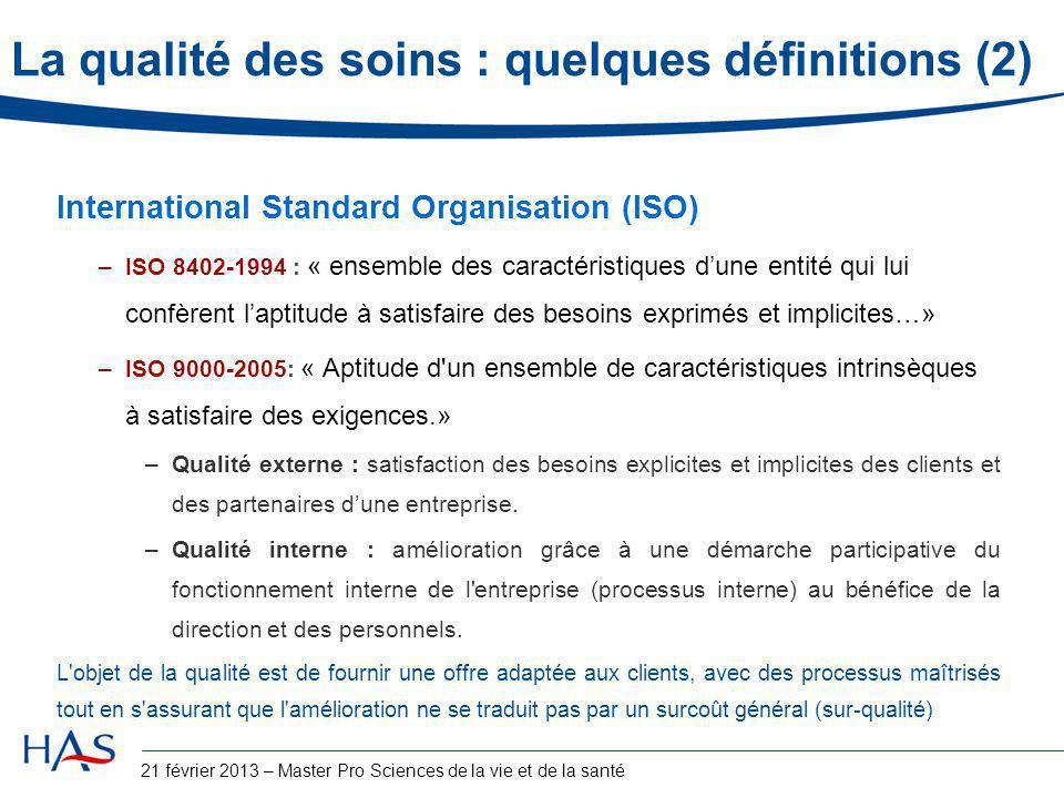 La qualité des soins : quelques définitions (2)