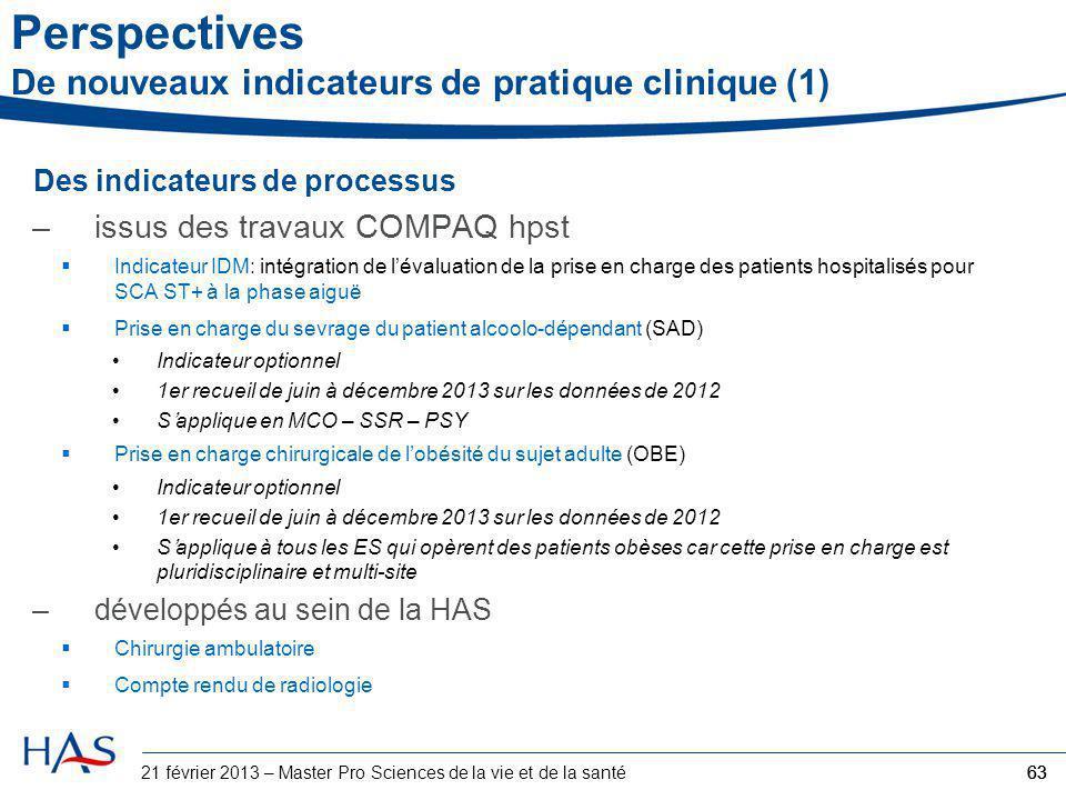 Perspectives De nouveaux indicateurs de pratique clinique (1)