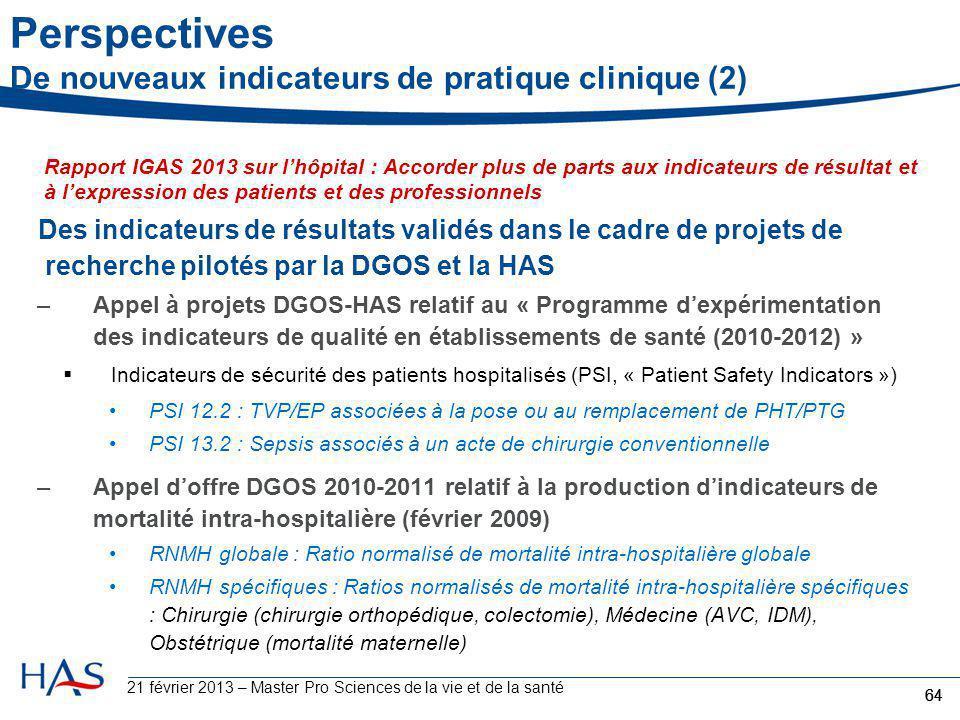 Perspectives De nouveaux indicateurs de pratique clinique (2)