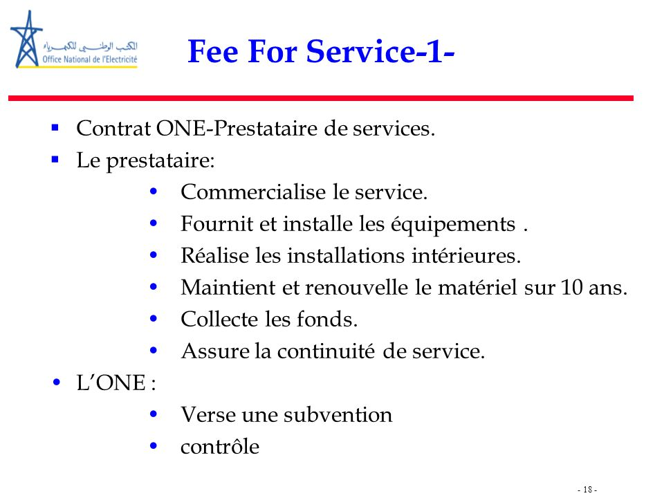Fee For Service-1- Contrat ONE-Prestataire de services.