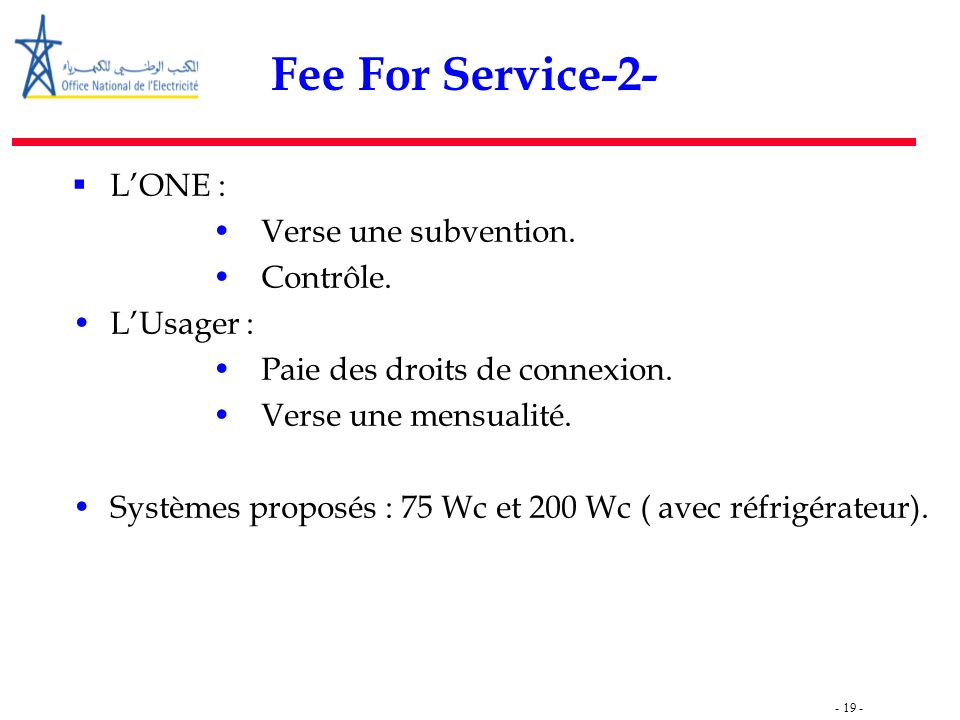Fee For Service-2- L'ONE : Verse une subvention. Contrôle. L'Usager :